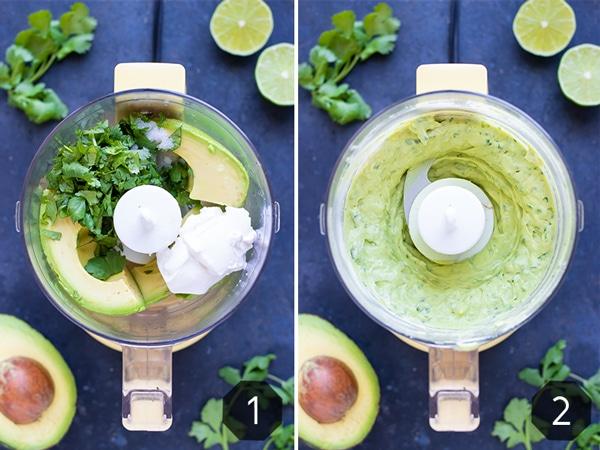 A food processor full of avocado, cilantro, lime, and yogurt for a fish taco sauce recipe.