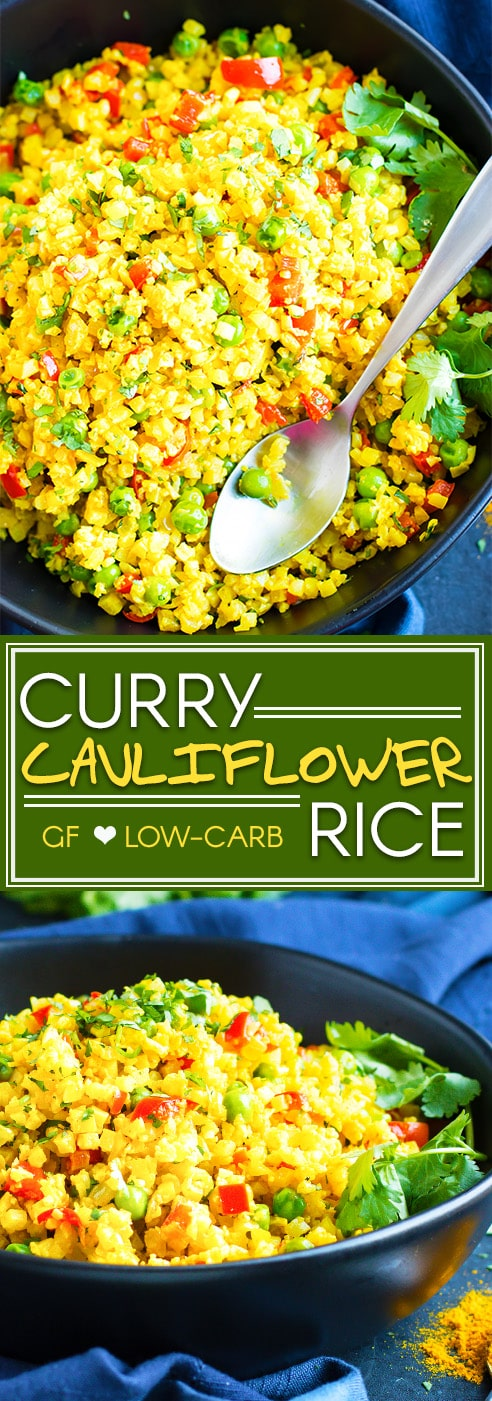 Curry Cauliflower Rice | Curry cauliflower rice is ready and on the table in under 15 minutes! This vegan, whole30, ketogenic and Paleo side dish recipe is so easy to make by using frozen cauliflower rice and a few go-to Indian spices.