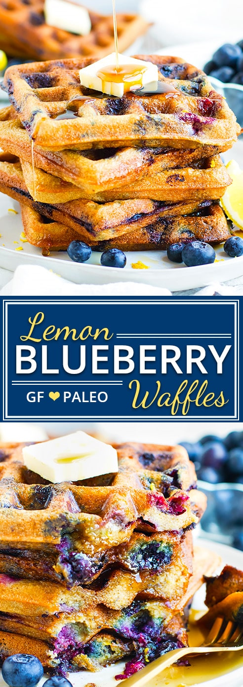 This healthy Lemon Blueberry Waffle recipe has a fresh citrus flavor and bursts of berry bliss in every bite!  These Paleo waffles are also gluten-free, vegetarian, dairy-free, soy-free and freezer-friendly!