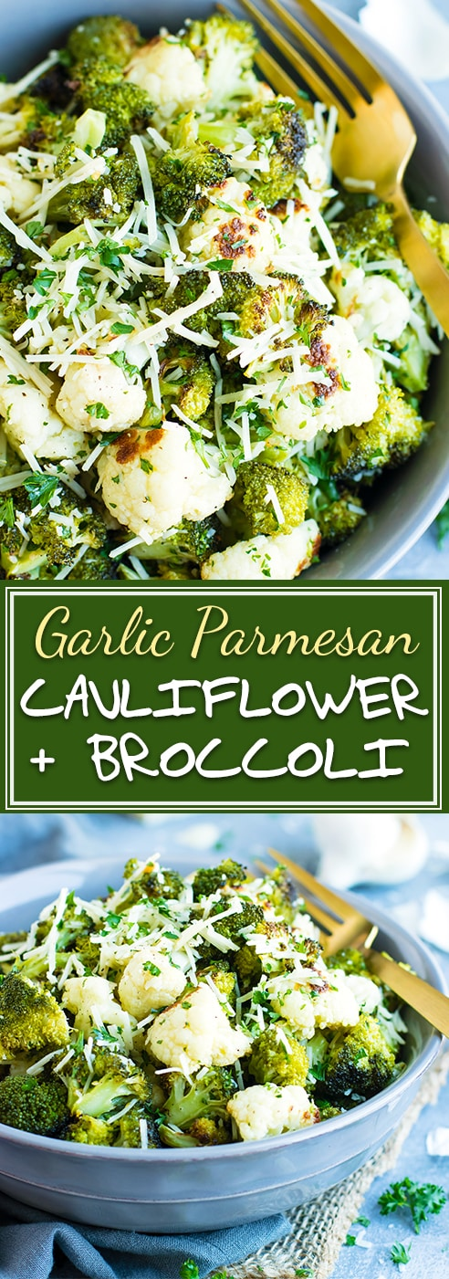 Roasted Broccoli and Cauliflower are accompanied by a delicious blend of garlic and Parmesan for a showstopping low-carb and ketogenic diet side dish! You can have this oven roasted broccoli-cauliflower recipe ready and on the table in under 30 minutes!