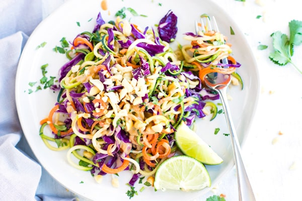 Overhead picture of Thai cabbage salad on a plate for dinner.