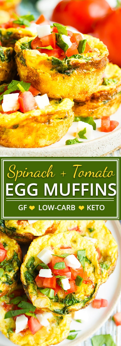 Healthy Spinach Egg Muffins with Tomatoes are a great make-ahead low-carb, gluten-free, and keto breakfast recipe for those hectic weekday mornings.  Low-carb egg muffin cups are loaded with spinach, fresh mozzarella, and Roma tomatoes and baked in the oven for an easy, make ahead, keto breakfast recipe!