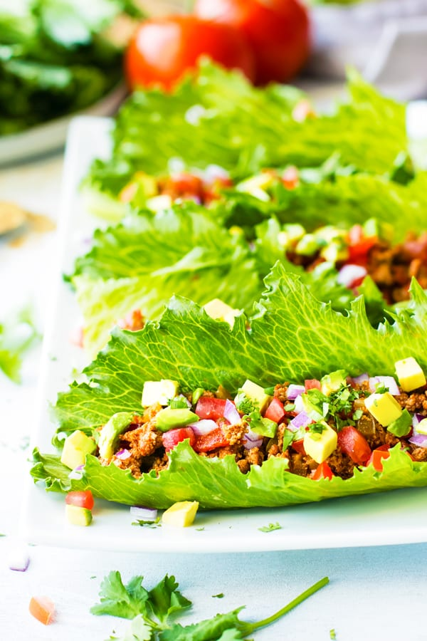 A collection of easy Ground turkey Taco Lettuce Wraps on a plate for lunch.