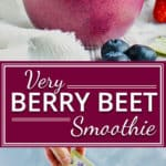 Very Berry Beet Smoothie with Bananas | Wake up to this Very Berry Beet Smoothie that is FULL of nutrition and flavor! This vegan breakfast smoothie is made from strawberries, blueberries, bananas, raw beet root powder, and then sweetened with stevia. This post has been sponsored by Wholesome.