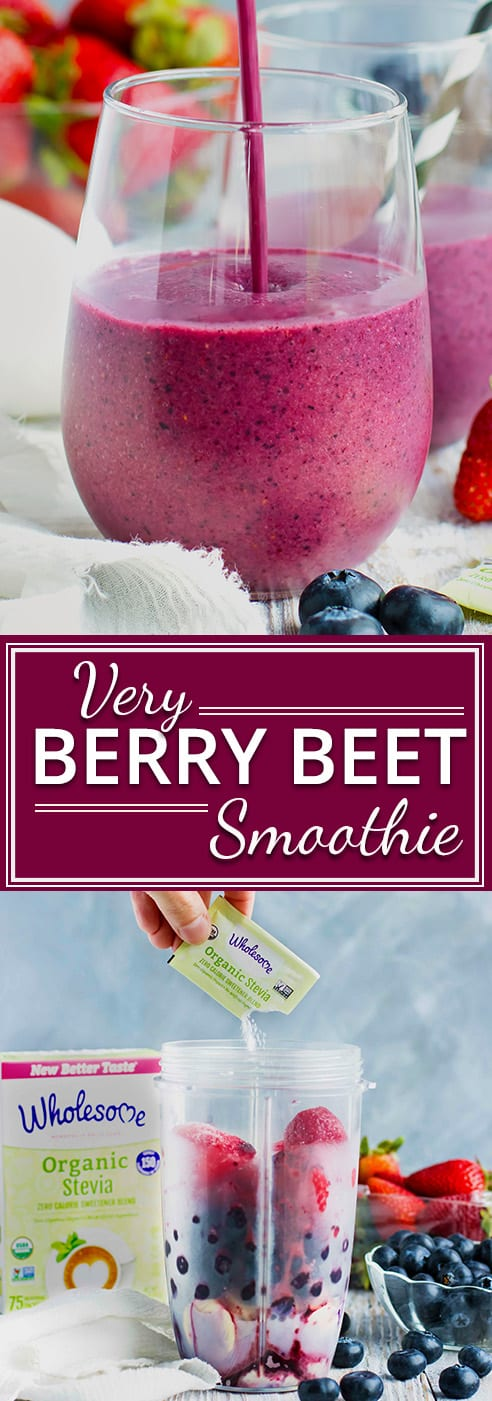Start your day off with this Very Berry Beet Smoothie that is FULL of nutrition and flavor! This vegan breakfast smoothie is made from strawberries, blueberries, bananas, raw beetroot powder, and then sweetened with stevia. This post has been sponsored by Wholesome. All thoughts and opinions are my own.