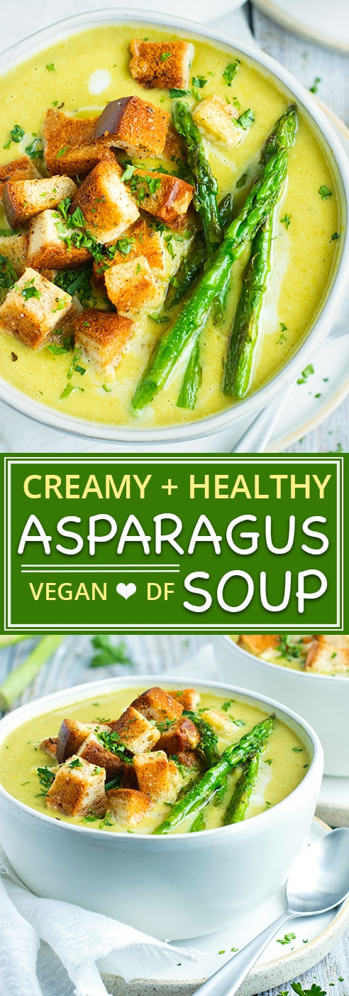 Healthy + Creamy Asparagus Soup Recipe | Ultra filling, super nutritious, cream of asparagus soup is made vegan by using coconut milk instead of heavy cream. This asparagus soup recipe can be served warm or chilled so you can enjoy your gluten-free and dairy-free cream of asparagus soup year-round!
