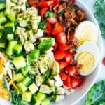 Overhead picture of a healthy Cobb salad in a white bowl.
