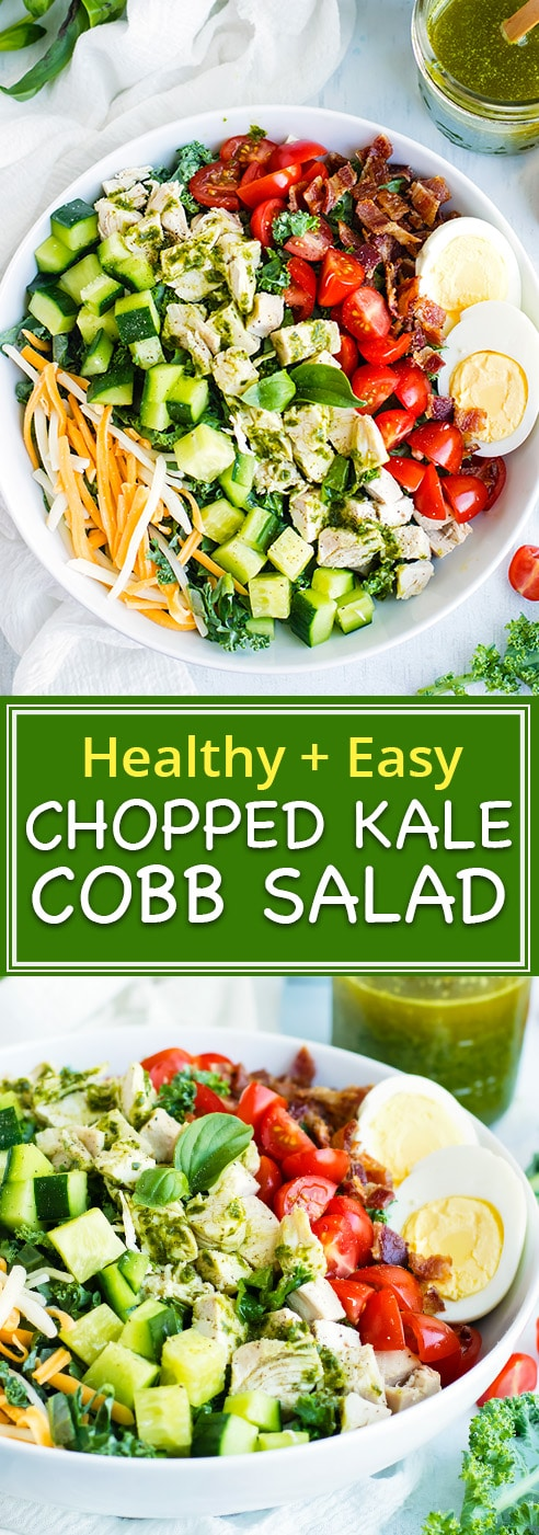 Easy + Healthy Chopped Kale Cobb Salad | Prep ahead and enjoy this healthy chicken Cobb chopped kale salad for lunch or dinner!  This chicken Cobb salad recipe is full of tomatoes, hard-boiled eggs, crispy bacon, Monterrey jack cheese, and chopped kale for a healthy, low-carb and gluten-free meal.