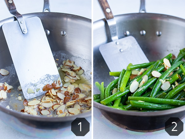 Sliced almonds being sauteed in butter in a skillet and then fresh green beans added in.