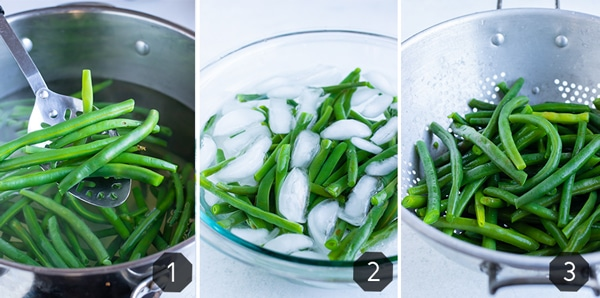 Three images showing how to boil green beans and then blanch them to stay a bright green.