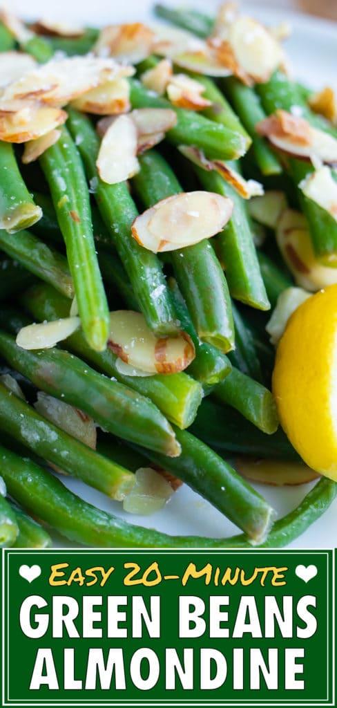 Green Beans Almondine Recipe with Garlic | Easy Side Dish | Vegan, Gluten-Free, Low-Carb
