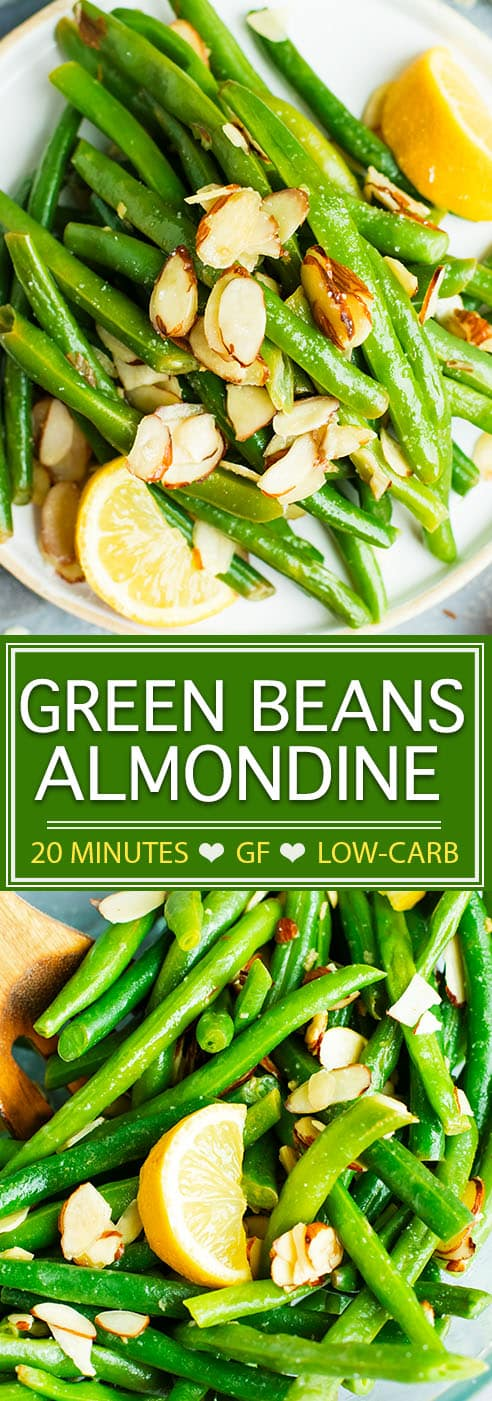 Green Beans Almondine is a simple side dish recipe that can be made ahead or whipped up in under 15 minutes!  This Green Bean Almondine Recipe is made with butter, garlic, almonds, and a touch of lemon juice for a light, refreshing, gluten-free, vegetarian, and low-carb side dish. You'll learn how to blanch green beans and how long to blanch green beans, too!
