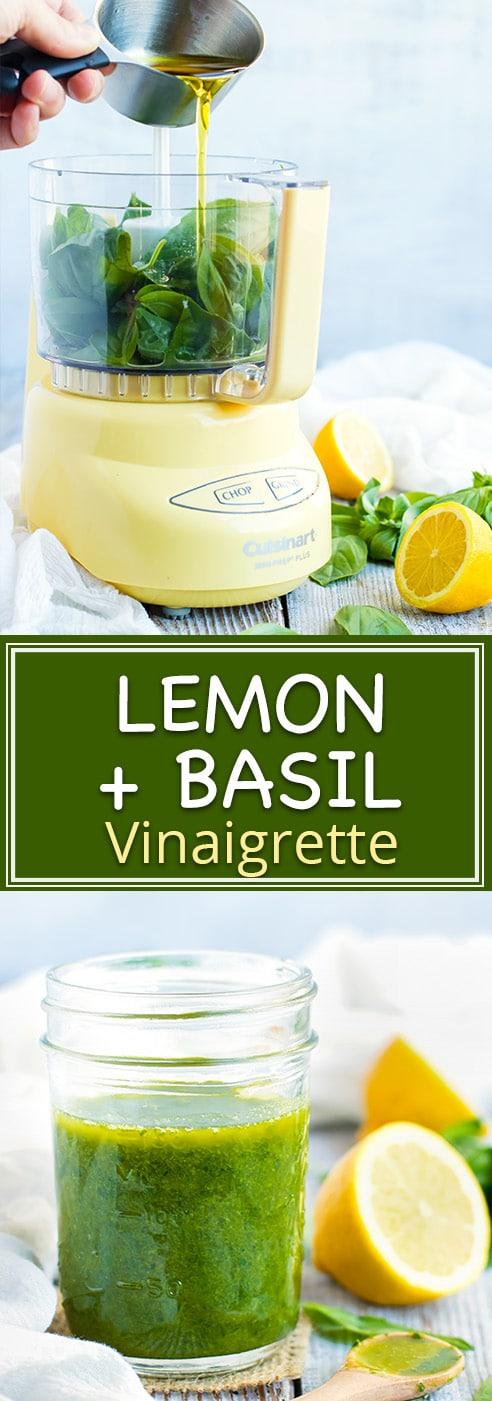 Healthy Homemade Lemon Basil Salad Dressing | Simple and easy basil and lemon vinaigrette dressing recipe! Pour this gluten-free, dairy-free, vegan and healthy homemade salad dressing recipe over your favorite salad, quinoa veggie bowl, or on a sandwich. #healthy #homemade #saladdressing #recipe #basil