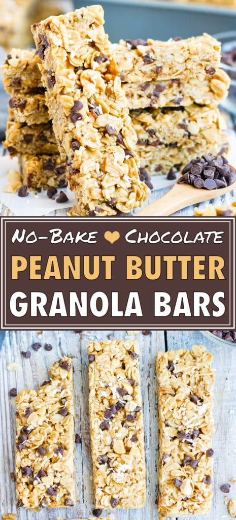No-Bake Peanut Butter Granola Bars with Chocolate Chips | Healthy, Gluten-Free Snack