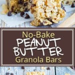 No Bake Peanut Butter Granola Bars are loaded with mini chocolate chips and salted peanuts. This dairy-free, vegan, and gluten-free peanut butter chocolate chip granola bar recipe makes a great healthy afternoon snack thekids will love!