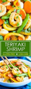 Teriyaki Shrimp Stir Fry with Vegetables | Teriyaki Shrimp Stir Fry is loaded with vegetables and made in under 30 minutes, so you won't feel the need to order takeout!   A homemade teriyaki sauce adds that bit of flavor I am sure you'll love in this gluten-free shrimp and vegetable stir fry recipe.