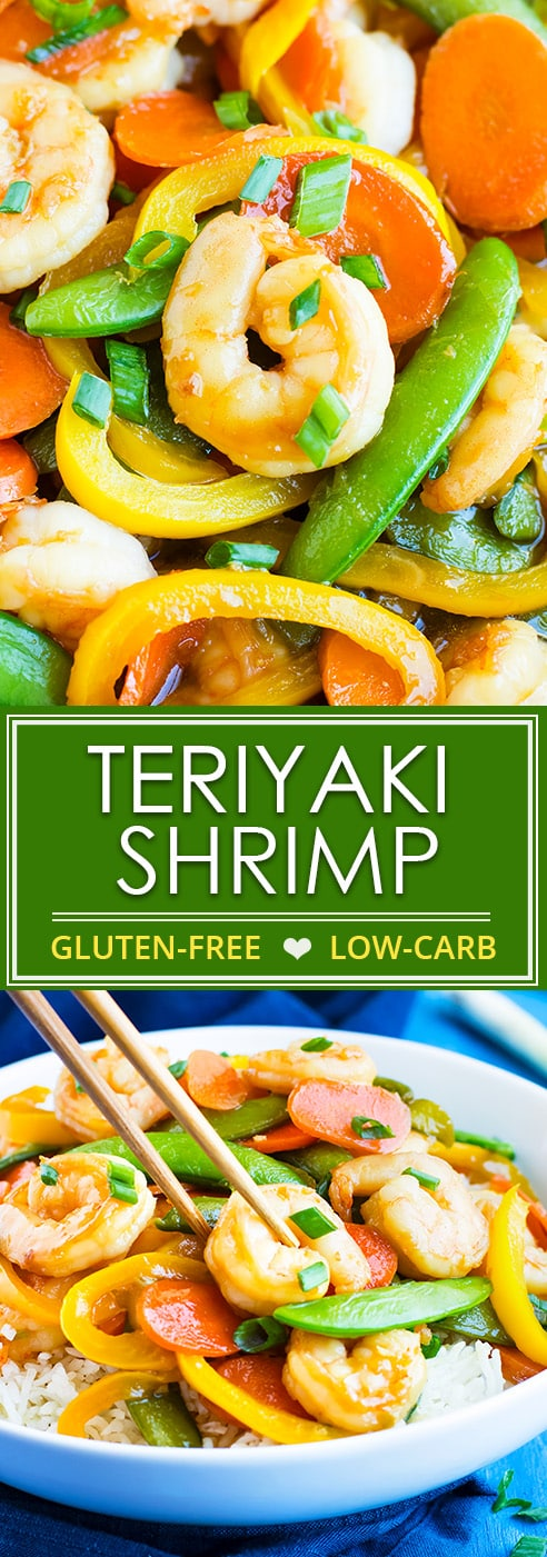 Teriyaki Shrimp Stir Fry is loaded with vegetables and made in under 30 minutes, so you won't feel the need to order takeout!   A homemade teriyaki sauce adds that bit of flavor I am sure you'll love in this gluten-free shrimp and vegetable stir fry recipe.