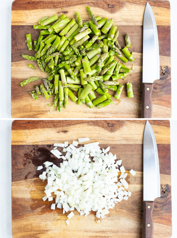 Cutting asparagus spears into 2-inch pieces and finely chopping a sweet onion.