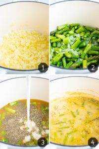 Step-by-step photos showing how to make a vegan cream of asparagus soup in a Dutch oven.