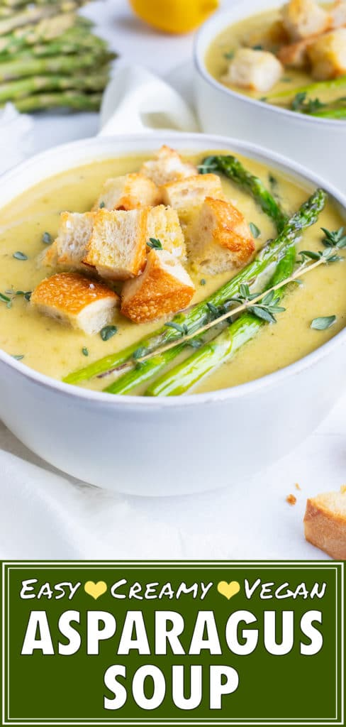 Cream of Asparagus Soup Recipe with Coconut Milk | Vegan, Healthy, Vegetarian, Non-Dairy