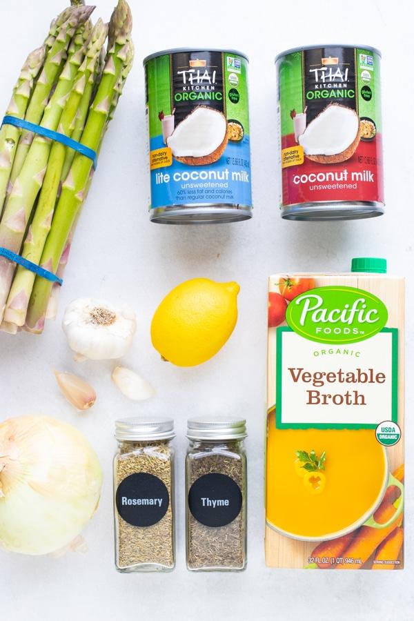 Vegan, Whole30, and Vegetarian asparagus soup recipe ingredients.