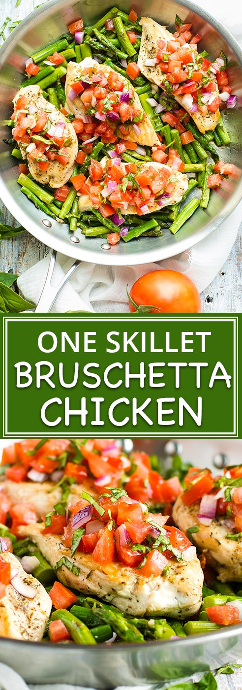 Healthy, easy, low-carb, and Whole 30-approved Bruschetta Chicken and Asparagus is made in one skillet and tastes incredible! In under 30 minutes you will have a restaurant-quality dinner ready and on your table with minimal effort and clean-up.