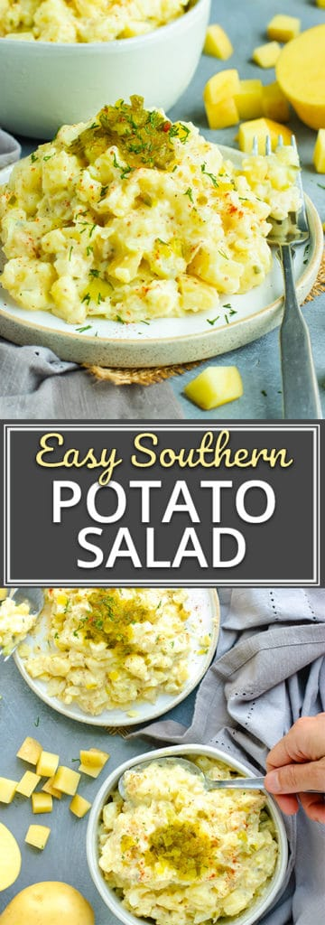 Easy Southern Potato Salad Recipe | This Southern Potato Salad recipe is so easy to make by starting with Instant Pot potatoes!  You can make this easy potato salad the night before and have it ready to go for your July 4th, Labor Day, or backyard BBQ party.