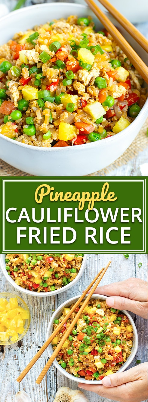 Healthy & Easy Cauliflower Fried Rice with Pineapple | This easy Cauliflower Fried Rice recipe is loaded with vegetables, full of juicy pineapple, and can easily be made Paleo and Whole30! Have this healthy, gluten-free, and dairy-free pineapple fried rice dinner recipe ready and on the table in under 30 minutes!