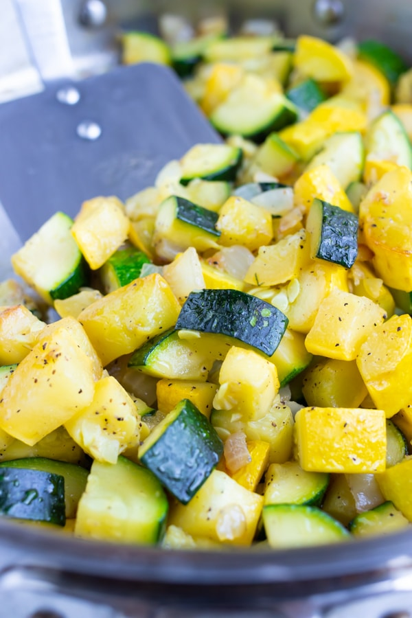 A quick, easy, and healthy zucchini squash recipe with yellow squash.