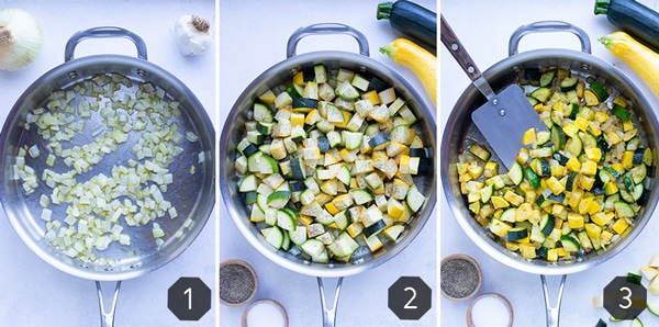 Sautéed onions in a pan, yellow squash and zucchini being cooked in a skillet, and a finished sautéed zucchini and squash recipe.