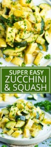 Healthy, Easy, Skillet Zucchini Squash | Have a delightful side dish of sauteed zucchini and squash ready and on your dinner table in under 20 minutes. This easy and healthy zucchini squash recipe is gluten-free, dairy free, vegan, vegetarian, whole 30, low-carb, and keto!
