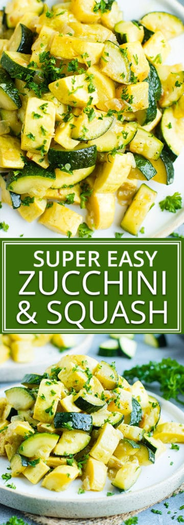 Healthy, Easy, Skillet Zucchini Squash   Have a delightful side dish of sauteed zucchini and squash ready and on your dinner table in under 20 minutes. This easy and healthy zucchini squash recipe is gluten-free, dairy free, vegan, vegetarian, whole 30, low-carb, and keto!