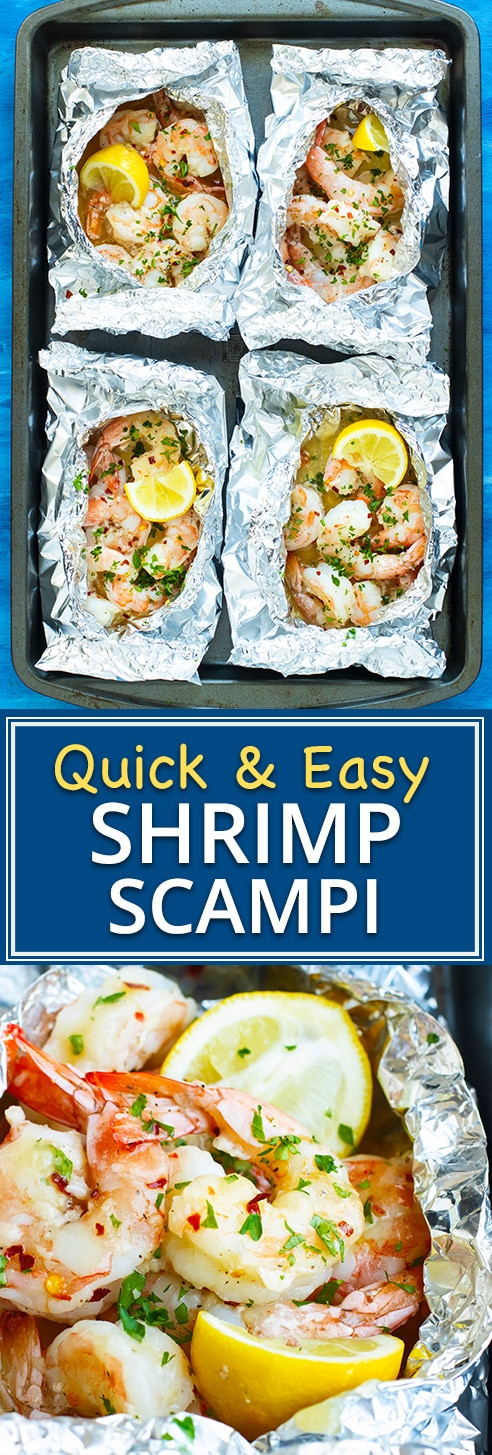 Easy Baked Shrimp Scampi Recipe made in Foil Packets! | Baked Shrimp Scampi is tossed in a delicious garlic and butter white wine sauce, made in convenient foil packets, and is healthy, low-carb, gluten-free, low-carb, and can be made Paleo and Whole30.  This easy weeknight dinner recipe comes together in under 20 minutes, too!
