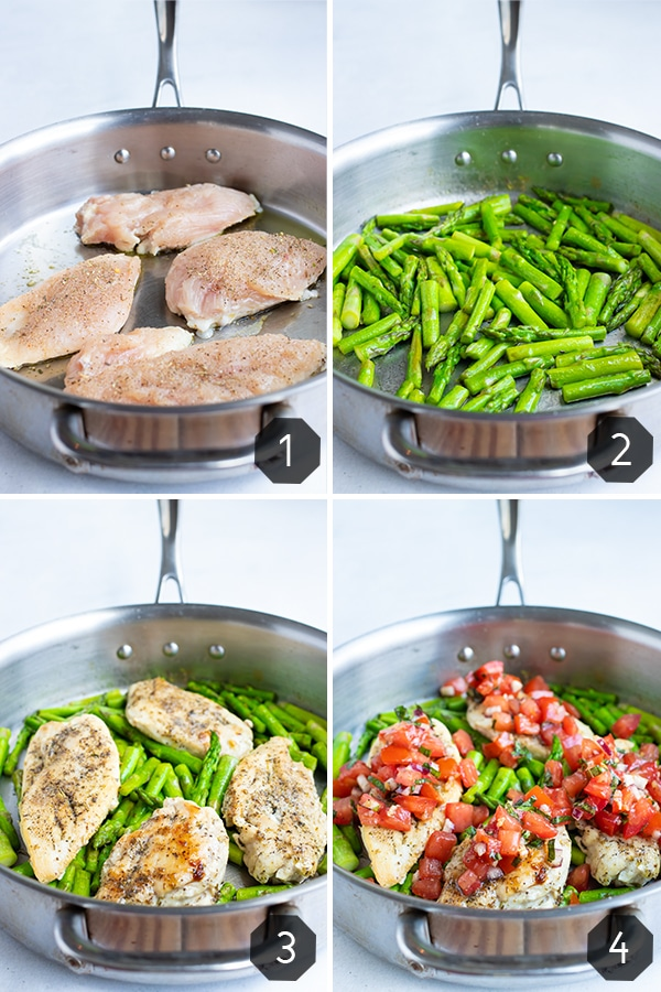 Searing chicken, cooking asparagus, adding a tomato topping to show how to make bruschetta chicken in a skillet.