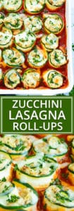 Easy, Healthy, Keto Zucchini Lasagna Roll-Ups | Treat yourself to these low-carb and keto zucchini lasagna roll-ups!  They have all of the flavor of a traditional lasagna recipe without the unnecessary carbs.  Plus, these zucchini lasagna rolls are naturally gluten-free lasagna recipe, too!