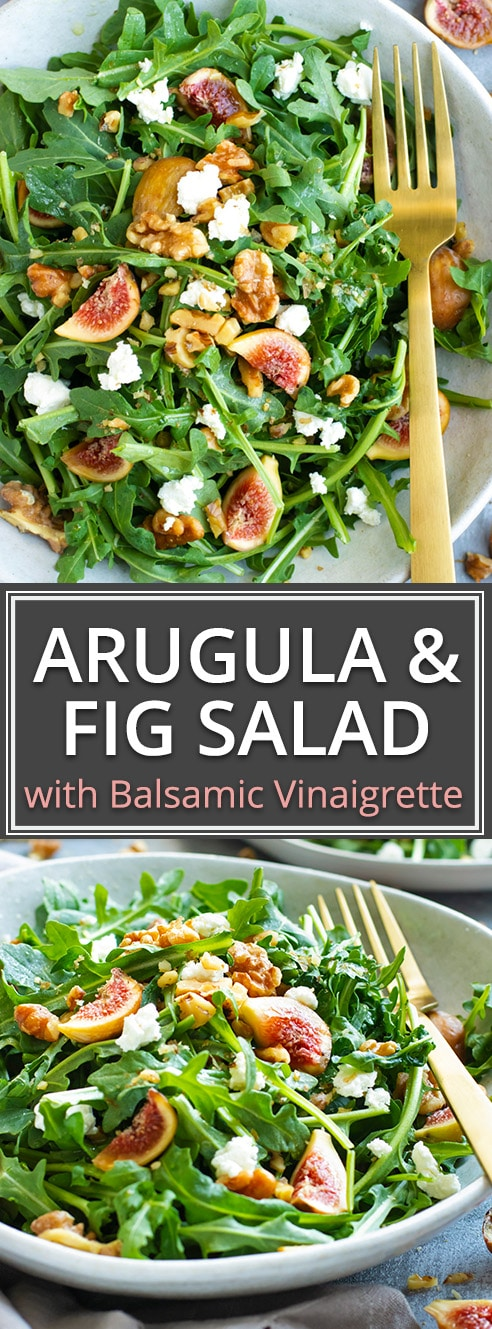 When fig season is in full swing you can use them up by tossing them into this easy Arugula Fig Salad with a delightful balsamic vinaigrette dressing!  The combination of sweet figs, tart goat cheese, crunchy walnuts, and spicy arugula make all drizzled with a tasty balsamic vinaigrette dressing this one unforgettable and healthy salad recipe!