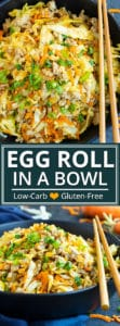 Easy Egg Roll in a Bowl Recipe | This Egg Roll in a Bowl recipe is loaded with flavor and is a Paleo, Whole30, and keto recipe to make for an easy weeknight dinner.  From start to finish, you can have this healthy and low-carb dinner recipe ready in under 30 minutes! It's a super easy and healthy ground turkey dinner recipe!