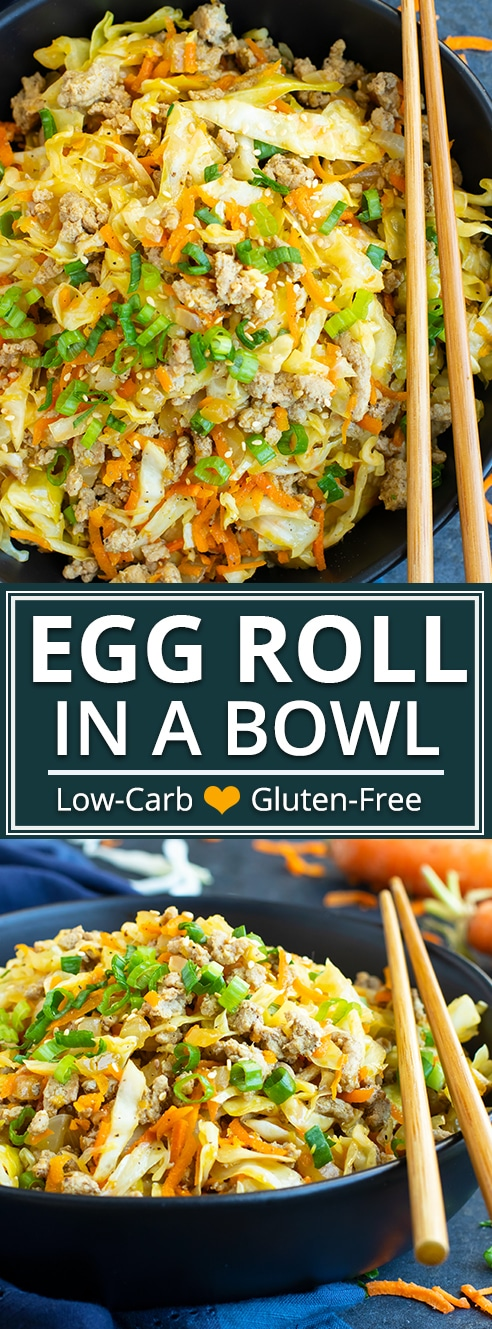This Egg Roll in a Bowl recipe is loaded with Asian flavor and is a Paleo, Whole30, gluten-free, dairy-free and keto recipe to make for an easy weeknight dinner. From start to finish, you can have this low carb and healthy family dinner recipe ready in under 30 minutes!  #Groundturkey, sesame oil, cabbage, and carrots make up the bulk of this #Asian flavored #lowcarb #healthydinner #glutenfree #keto #backtoschool #eggrollinabowl #evolvingtable