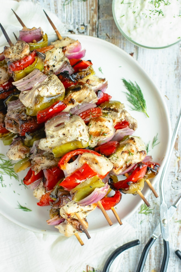 Delicious and Easy Greek Chicken Shish Kabobs on a plate for dinner.