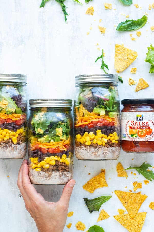 Healthy Taco Salad in a Mason Jar