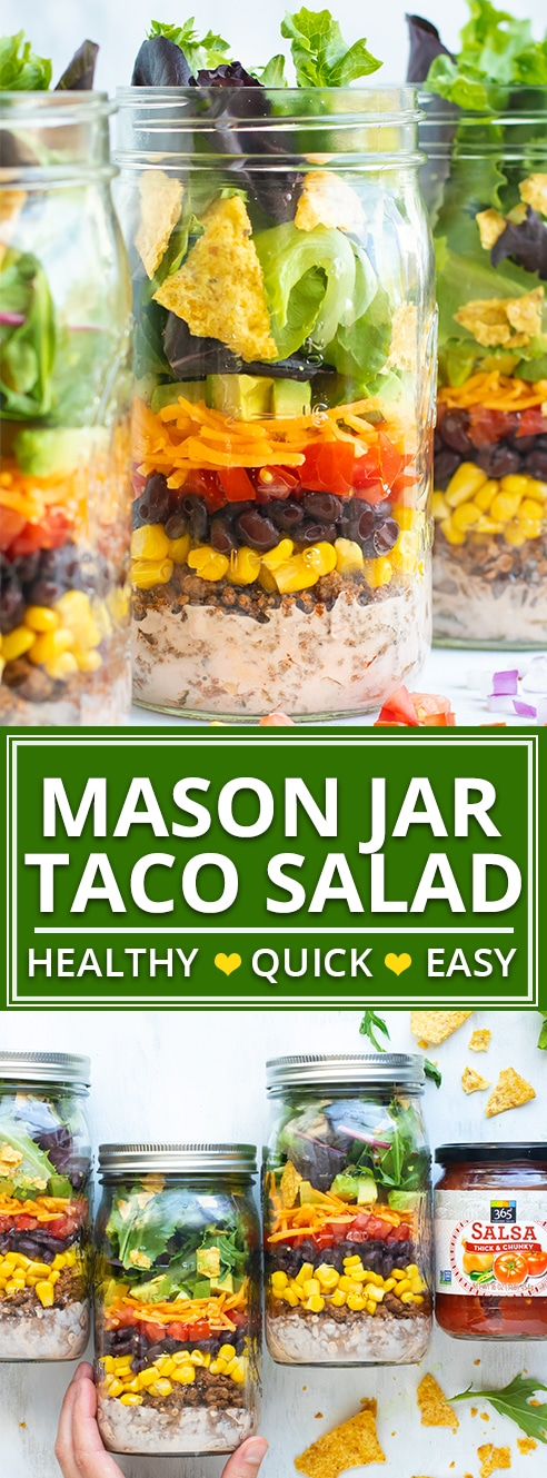 Take this Healthy Taco Salad to work or school in a super convenient mason jar!  This easy mason jar salad recipe is a gluten-free and easy work lunch that you can prep-ahead for the week!
