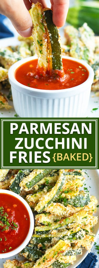 Crispy on the outside and soft on the inside, these Baked Parmesan Zucchini Fries are the perfect way to sneak in your vegetables at dinner!  Baked zucchini fries are quick, easy, gluten-free, and a healthy alternative to normal french fries!