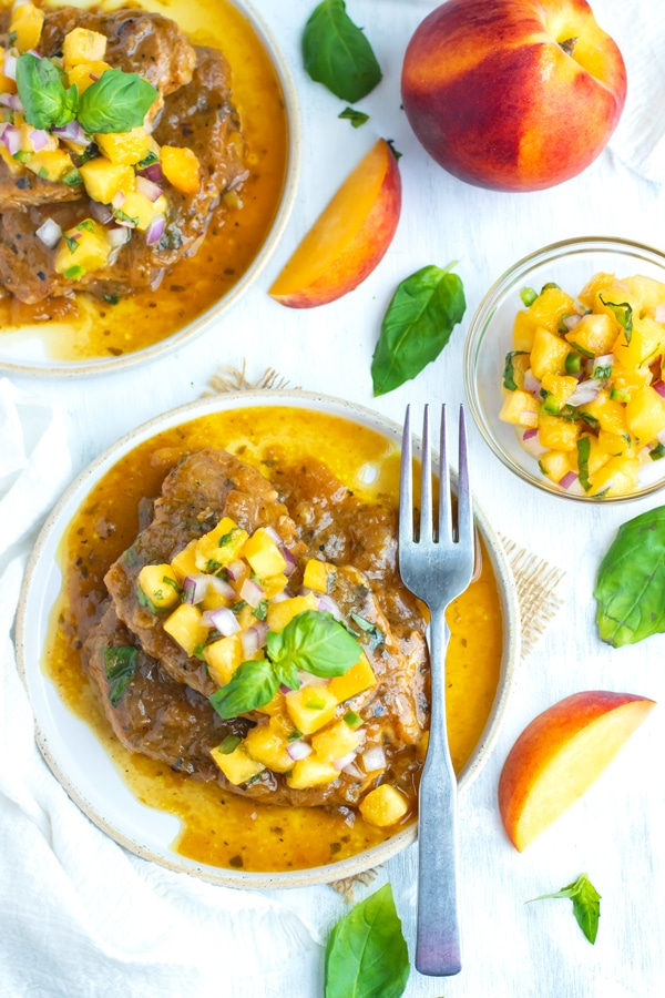 Peach salsa on top of Instant Pot pork chops for dinner.