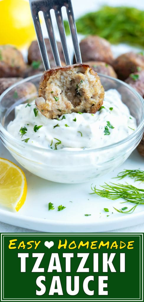 Dip a Greek turkey meatball into the low-carb, homemade Greek tzatziki sauce.