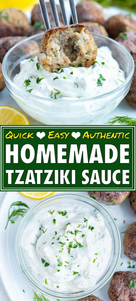 Authentic, vegetarian tzatziki sauce full of dill and cucumber is placed in a glass bowl for dipping meatballs, gyros, or falafel.