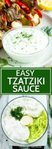 Easy Tzatziki Sauce Recipe | This Tzatziki Sauce recipe is super easy to make and tastes just as good as the kind served at your favorite Greek restaurant!  It's a great gluten-free, low-carb, and ketogenic recipe that tastes great served with shish kabobs or falafel!