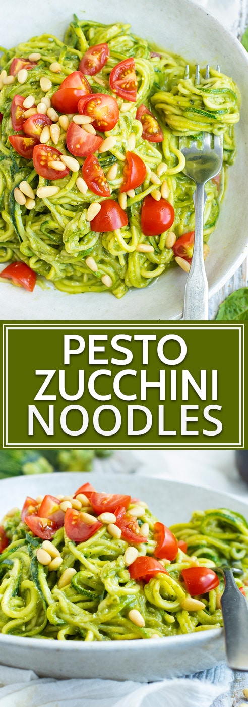 Learn how to makeZucchini Noodles with Pestofor a simple, healthy, low-carb, dairy-free, vegan, Whole30, and keto dinner recipe that you can throw together for a healthy workday lunch or busy weeknight! A vegan pesto recipe is combined with zucchini squash for a light summer dinner!