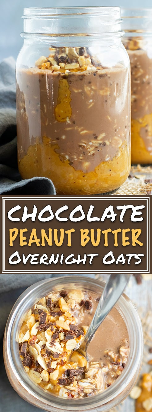 Healthy Chocolate + Peanut Butter Overnight Oats | Make this easy and healthy Chocolate Peanut Butter Oatmeal in a Jar the night before and wake up to a delicious breakfast in a jar! This easy vegan overnight oats recipe is made with gluten-free oats, cocoa powder, almond milk, and sweetened with maple syrup!