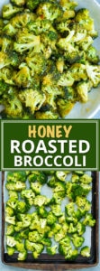 Oven roasted broccoli gets tossed in a sweet and tangy sauce full of honey, garlic, and oil.  This easy roasted broccoli recipe is a quick, healthy, gluten-free, dairy-free, low-carb, and Paleo side dish for busy weeknight dinners!