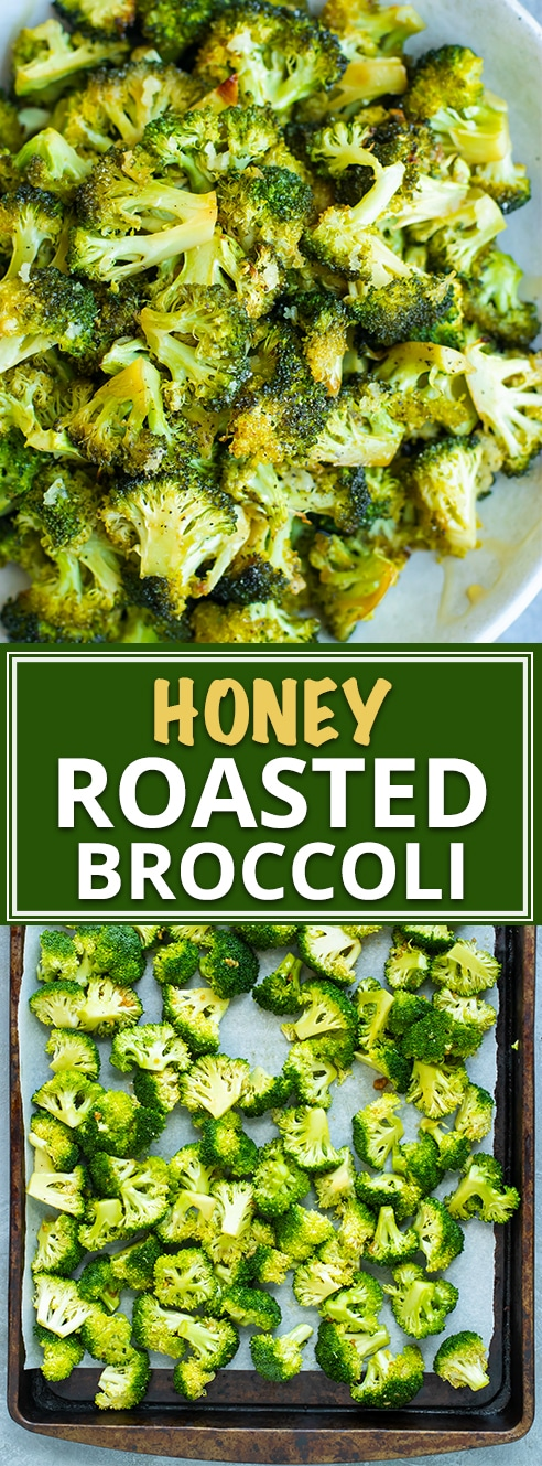Easy Oven Roasted Broccoli Recipe | Oven roasted broccoli gets tossed in a sweet and tangy sauce full of honey, garlic, and oil. This easyroasted broccoli recipe is a quick, healthy, gluten-free, dairy-free, low-carb, and Paleo side dish for busy weeknights!